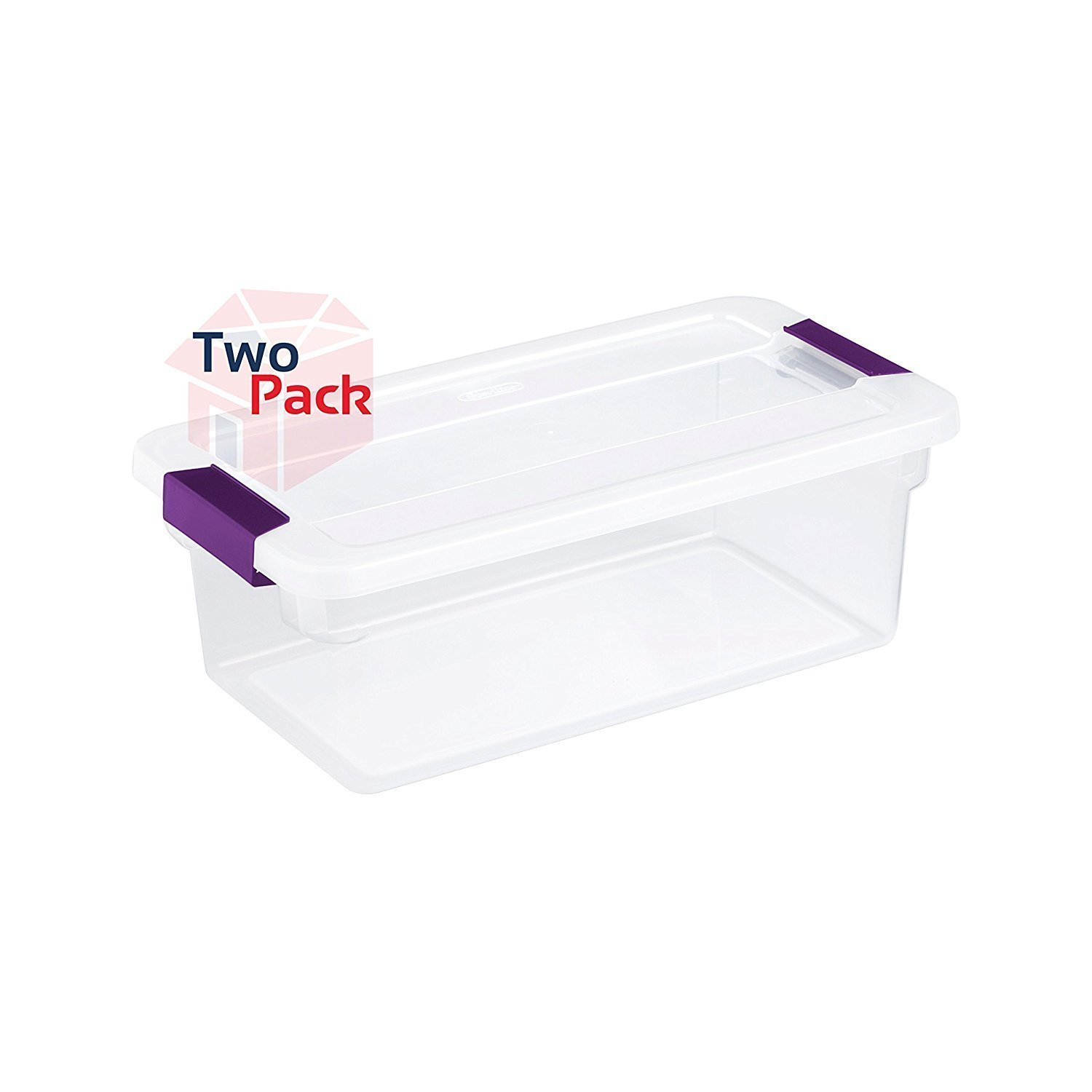 Sterilite 17511712 6-Quart ClearView Latch Box, with Plum Handles, 2-Pack
