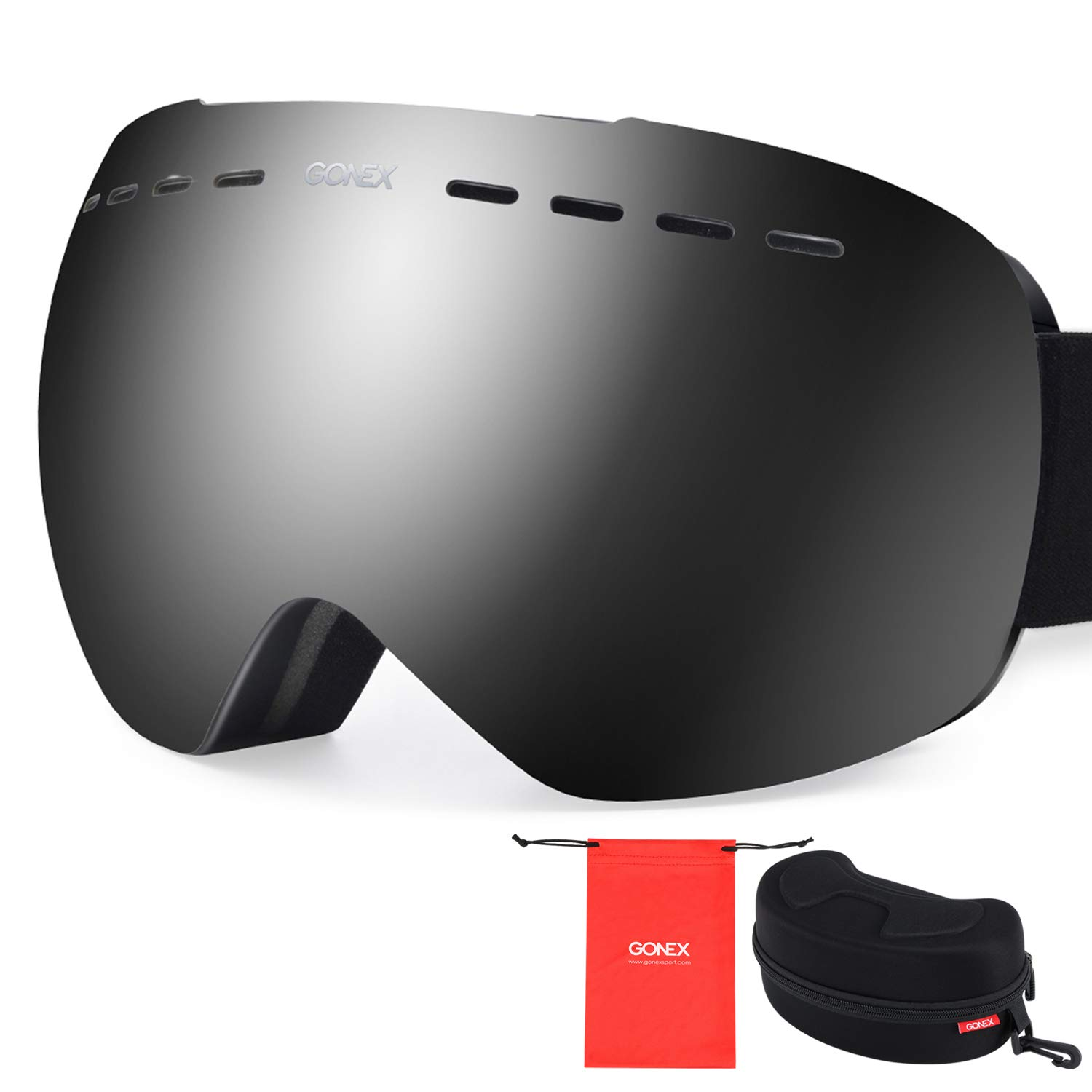 fb12f176164 Amazon.com   Gonex Oversized Ski Snow Goggles Anti-Fog UV Protection with  Frameless Double Spherical Lens for Skiing Snowboard Skate Winter Sports+  Goggle ...