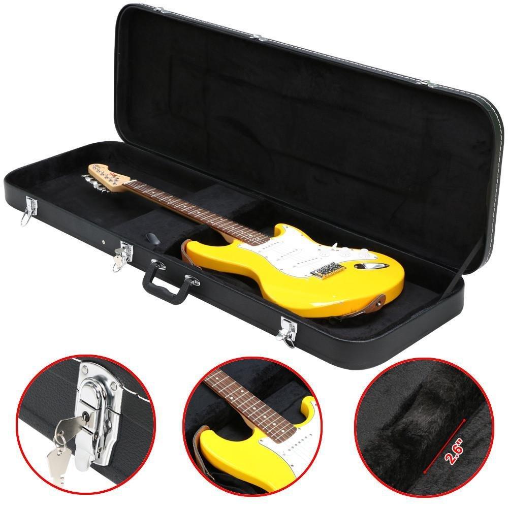 Topeakmart Electric Bass Guitar Hard Case Wooden Leather Black