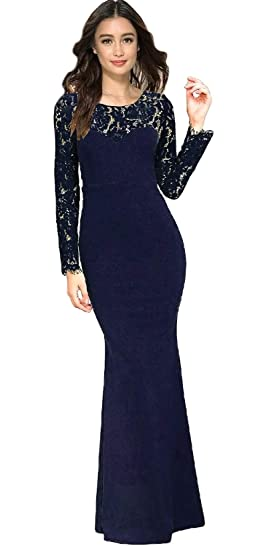 733af6c7438 Navy Blue Lace Maxi Dress Sheer Long Lace Sleeves at Amazon Women s ...