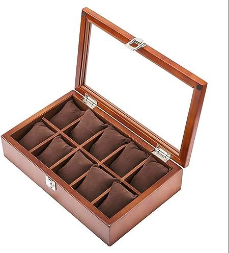 GJ-bsn Caja de Madera para Relojes, Expositor/Caja de Almacenamiento para Relojes de joyería, Caja de colección de Pulseras, Caja expositora para 10 Relojes con Tapa de Cristal: Amazon.es: Hogar