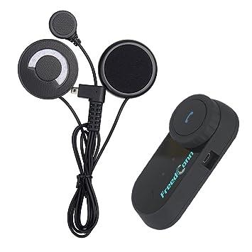 1b3bf95ed3985 FreedConn 800M T-COMVB Moto Casque Intercom Système de Communication de  Moto Bluetooth Casque Interphone avec Soft Cordonné/Câble Microphone pour  ...