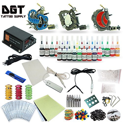 Complete Tattoo Kit 3 Coli Tattoo Machines Power Supply 25 colors ink set