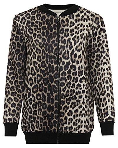 Top Brown Maniche Fashion18 Donna Leopard Lunghe Giacca AqSA0nwr