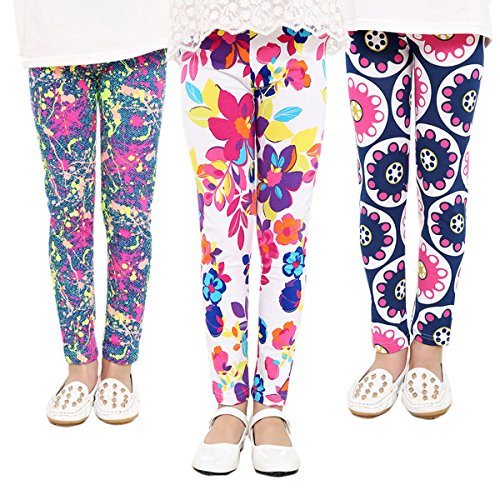 Girls Elegant 3-Pack Stretch Colorful Flower Printed Footless Tights Pants Legging 12-13 Years Style C(3 Pack) by Luodemiss
