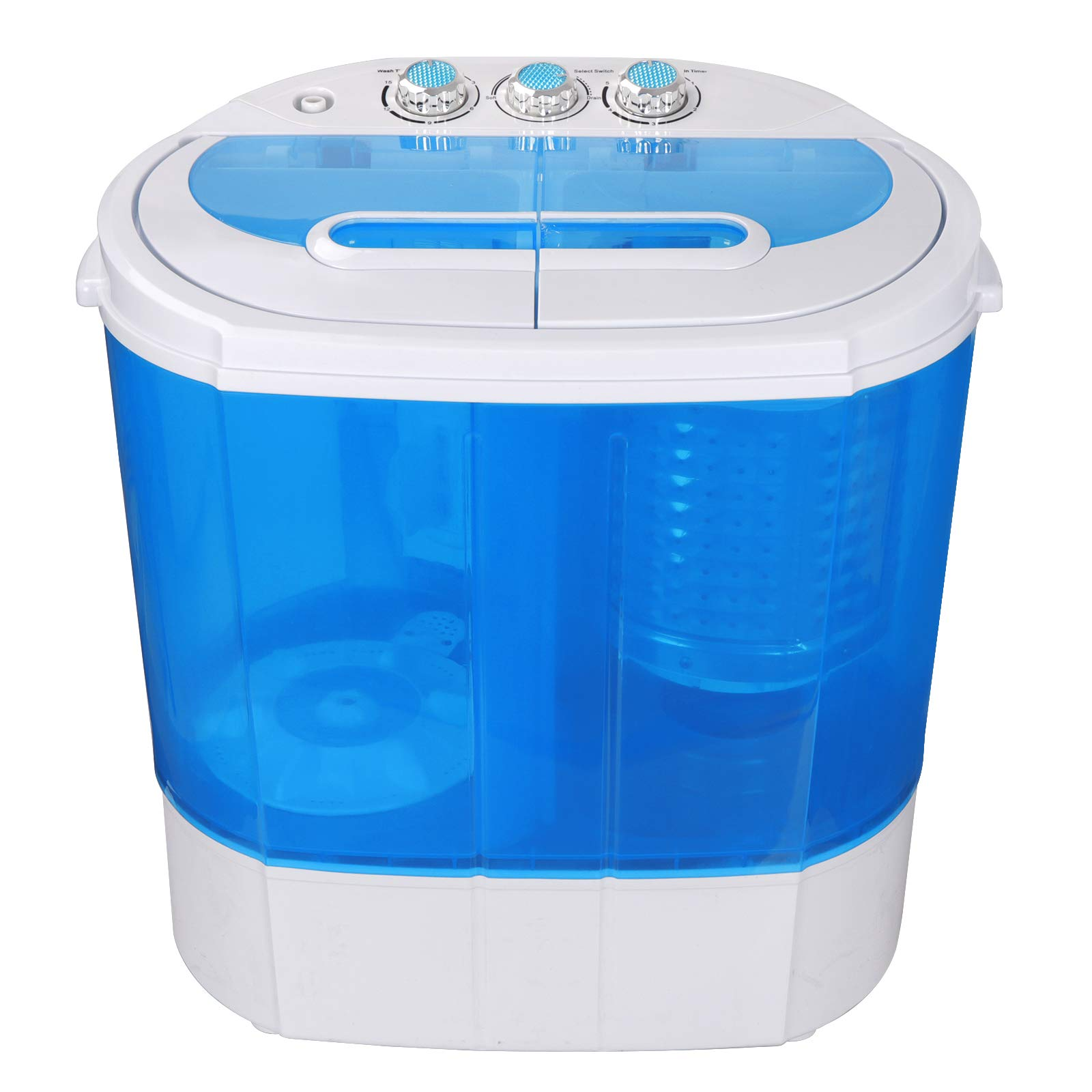 SUPER DEAL Portable Compact Washing Machine, Mini Twin Tub Washing Machine w/Washer&Spinner, Gravity Drain Pump and Drain Hose by SUPER DEAL