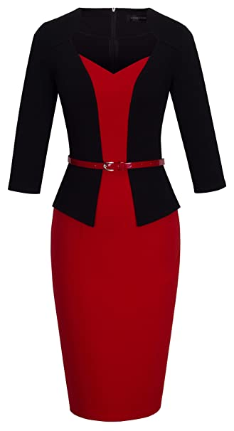 HOMEYEE Mujer Vintage Patchwork cinturón Rojo Retro Vestido de Noche B328 Rojo Rosso 36