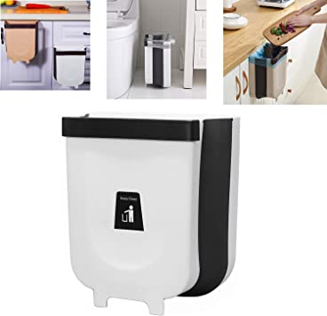 Kitchen Trash Can, Office Bathroom Car Garbage Can, Cabinet Small Trash  Bin, Plastic Folding Waste Basket White