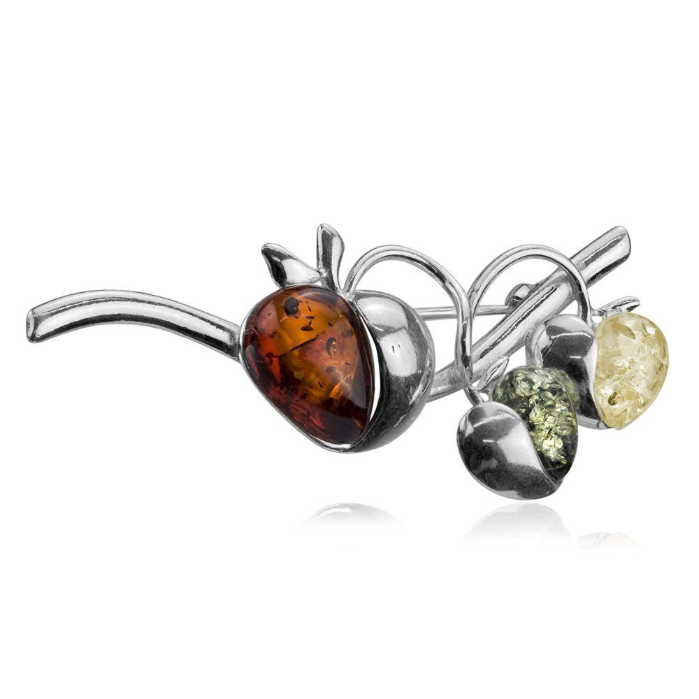 Sterling Silver Multicolor Amber Apple Pin Brooch