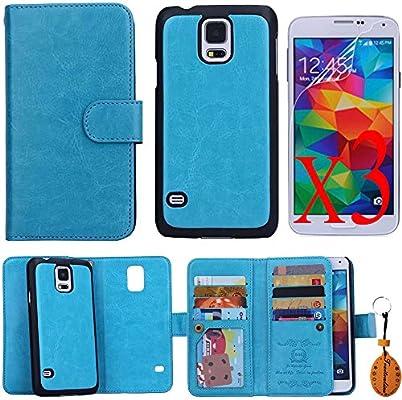 Traitonline ® película protectora + llavero + cartera PU cuero caso tarjeta Flip estuche para Samsung Galaxy S5 cubierta funda: Amazon.es: Electrónica