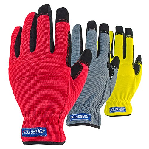 Gray Leather Palm Glove (JORESTECH 3 in 1 Value Pack Touch Screen Technology Multipurpose Work gloves (Large, Yellow/Red/Gray))