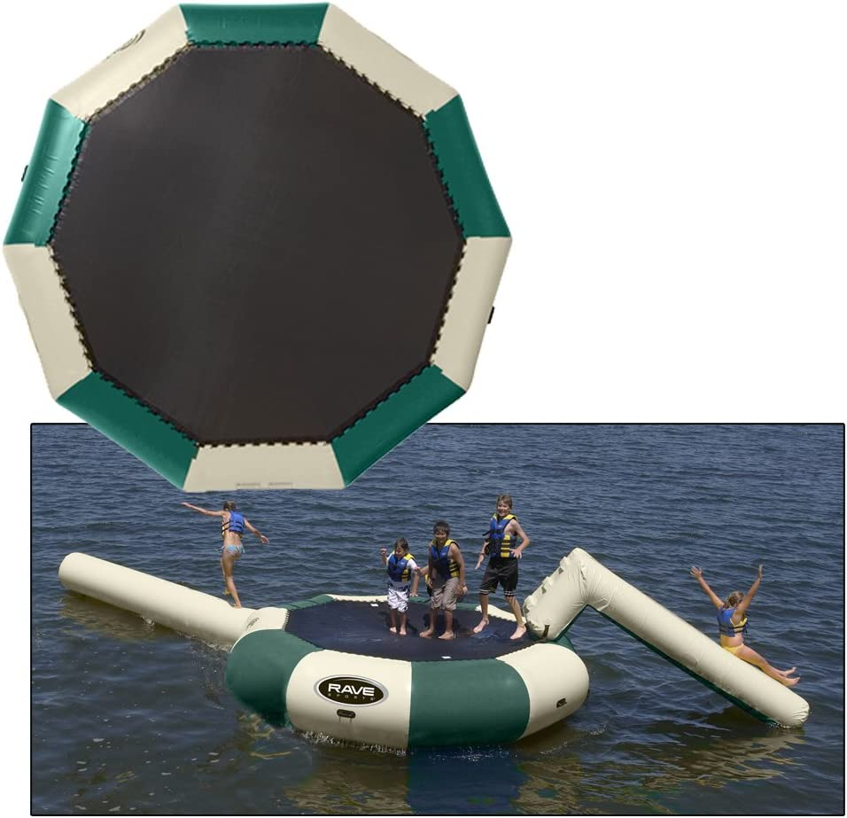 Amazon Com Rave Sports Bongo Water Bounce Platform 15 With Slide And Log Color Sand And Forest Green Garden Outdoor