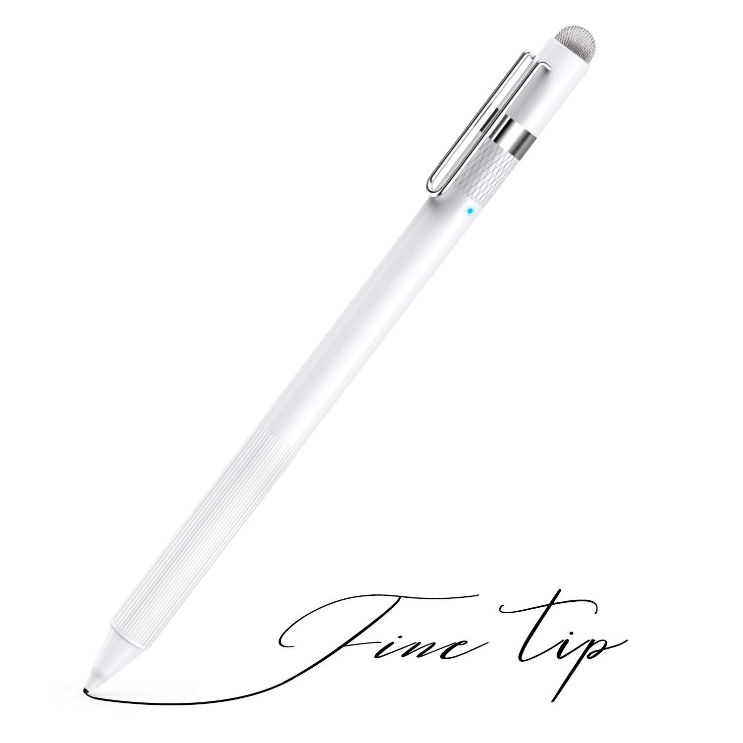 MEKO 1.6mm Fine Tip Active Digital Stylus Pen with Universal Fiber Tip 2-in-1 for Drawing and Handwriting Compatible with Apple Pen iPad iPhone and Andriod Touchscreen Cellphones, Tablets-White by MEKO