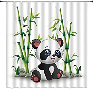Cartoon Panda Shower Curtains Cute Wildlife Animal Bamboo Leaves Baby Kids Bathroom Curtains Decor Polyester Fabric Quick Drying 70x70 Inches Include Hooks