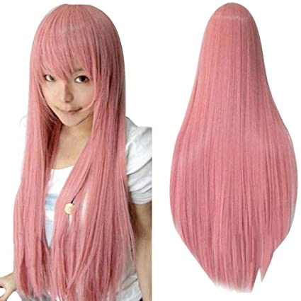 Vovotrade 80CM de largo derecho peluca multicolor a prueba de calor pelucas llenas (Rosa)