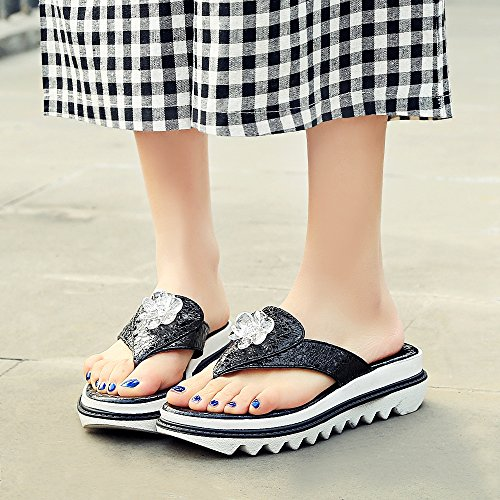 Coolcept Women Fashion Clip Toe Slides Sandals Black FZbwt4I