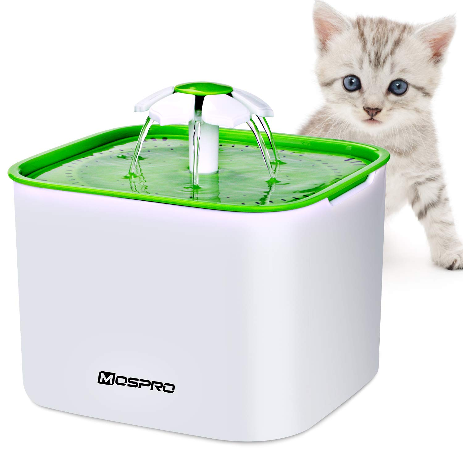 Pet Fountain Cat Water Dispenser - Flower Drinking Fountain 2L Ultra Quiet Automatic Electric Water Bowl with 2 Filters for Cats Dogs Birds and Small Animals Health Caring and Hygienic