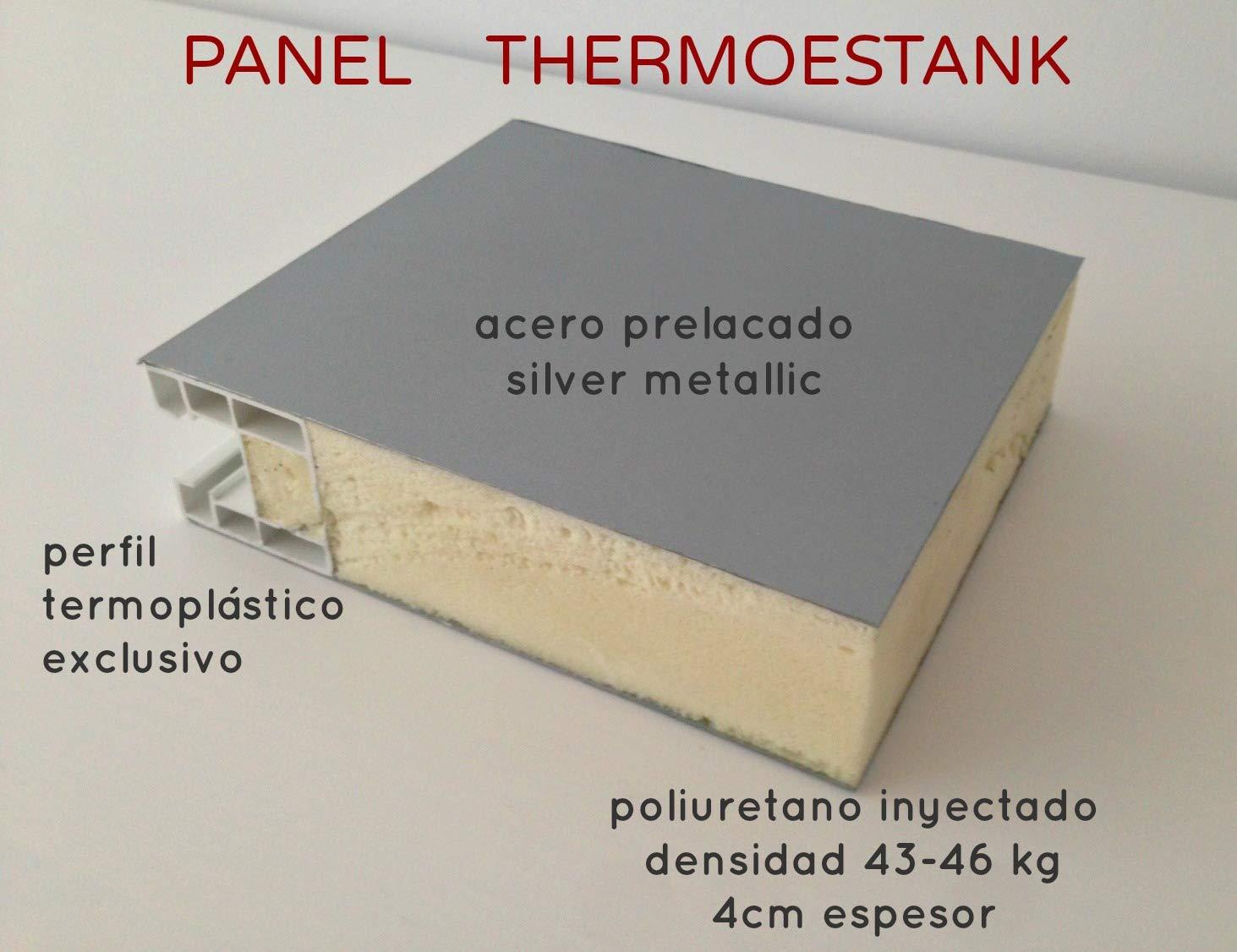 Armario metálico Exterior con Aislamiento térmico Color Gris Metalizado diseño Moderno con Cerradura y estanco 1.98 x 0.72 MTS: Amazon.es: Jardín
