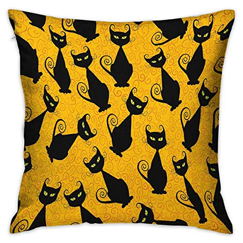 Vintage Square Kids Pillowcase Black Cat Pattern for Halloween on Orange Background Celebration Graphic Patterns Black Orange Cushion Cases Pillowcases for Sofa Bedroom Car W17.7 x L17.7]()