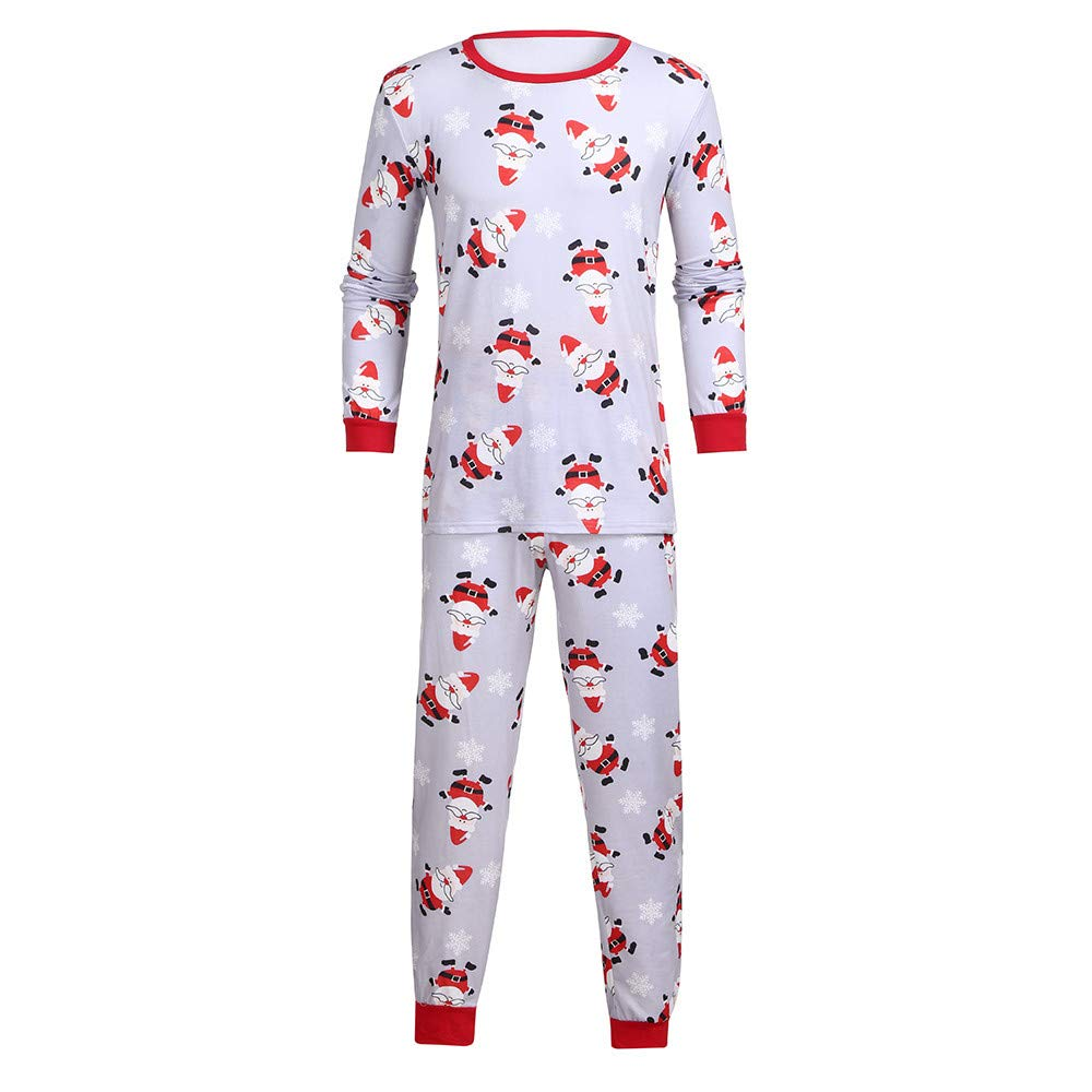 YunZyun 2 Piece Men Christmas Santa Claus Pajama Sets Jammies Matching Family Winter Long Sleeve Cartoon Fashion Novetly Warm Cotton Pjs Sleepwear for Boys Dad(S-XXL) (Red, L)