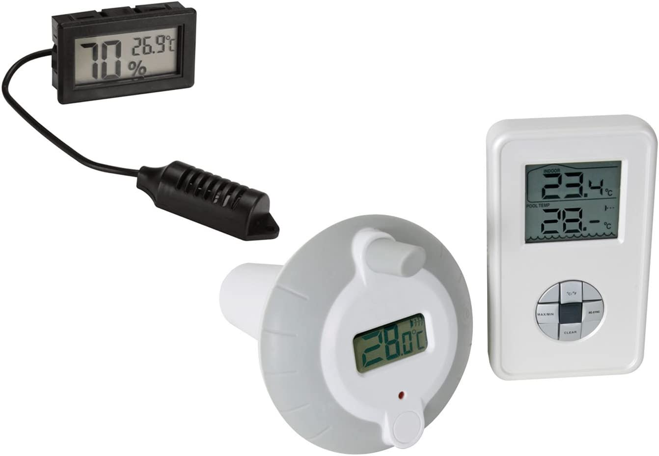 Reuvv Solar Powered Digital Thermometer Swimming Floating Pool Accurate Water Temperature Gauge