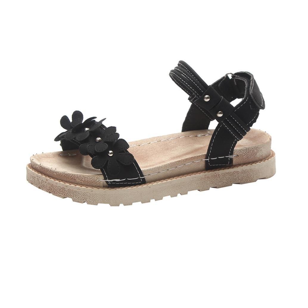 HCFKJ - Sandalen, Damen Frauen Sommer 2018 Solid Color Flower Rom Style Flache Ferse Dicke Boden Sandalen