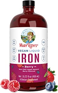 Liquid Iron for Kids & Adults by MaryRuth's | from Ferrochel® Ferrous Bisglycinate Chelate | 18mg per Serving | Vegan, Non-GMO, Gluten Free | Berry Flavored, 15.22 fl oz.