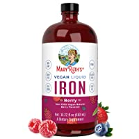 Liquid Iron for Kids & Adults by MaryRuth's   from Ferrochel® Ferrous Bisglycinate Chelate   18mg per Serving   Vegan, Non-GMO, Gluten Free   Berry Flavored, 15.22 fl oz.