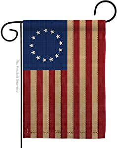 Breeze Decor Historic Betsy Ross Vintage Garden Flag Patriotic July Memorial Veteran Independence United State American Small Decorative Gift Yard House Banner Made in USA 13 X 18.5