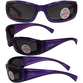 b034a6eb09 Amazon.com  Stray Cat Padded Motorcycle Riding Sunglasses Translucent Purple  Frame Anti-fog Smoke Lens  Automotive