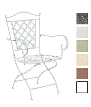 CLP Silla de Jardín Adara en Hierro Forjado | Silla de Exterior Metálica con Reposabrazos | Silla de Terraza con 93cm de Altura | Color: Blanco
