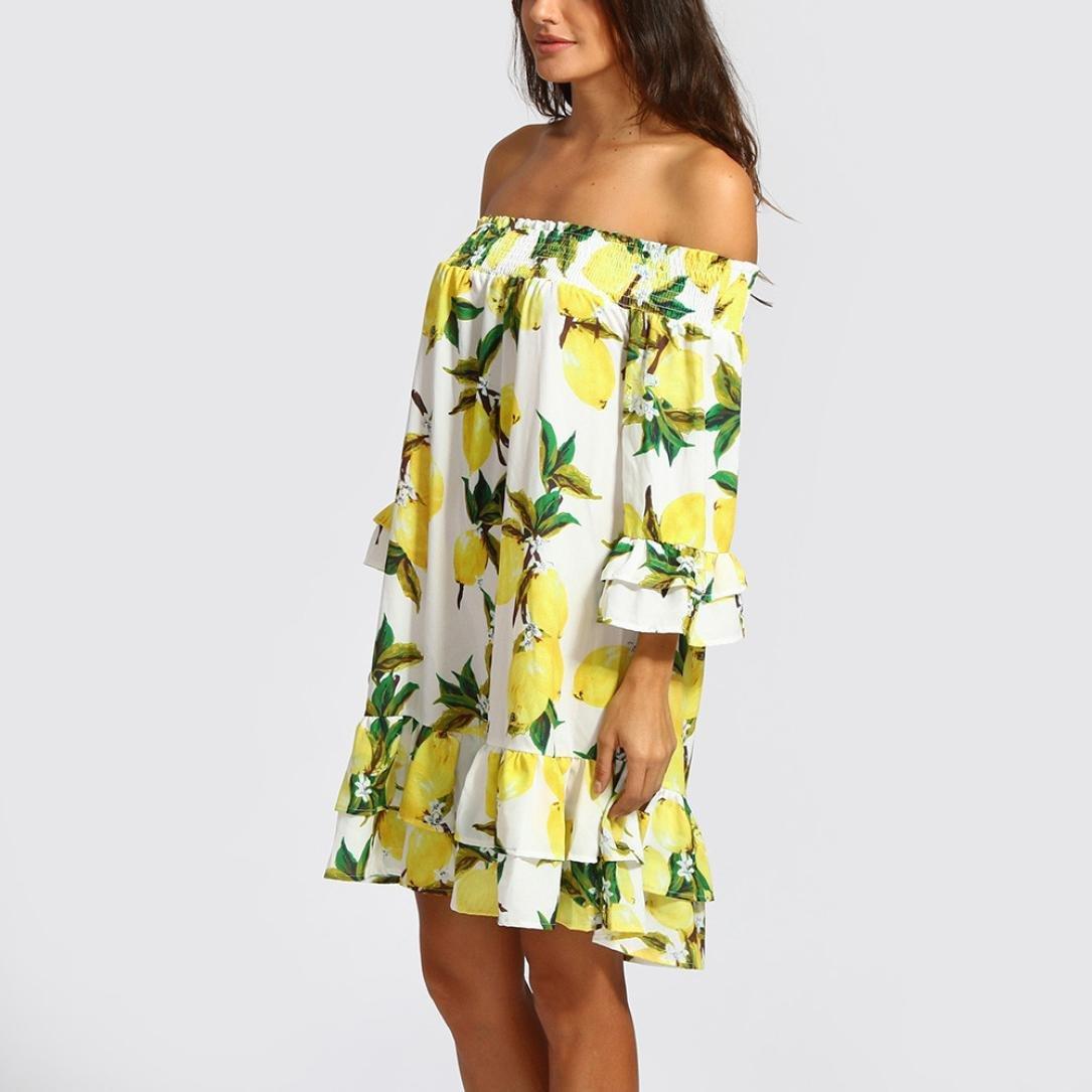 Resplend Damen Sommer-Off-Schulter-Party-Kleid Puffärmel Strandkleid ...