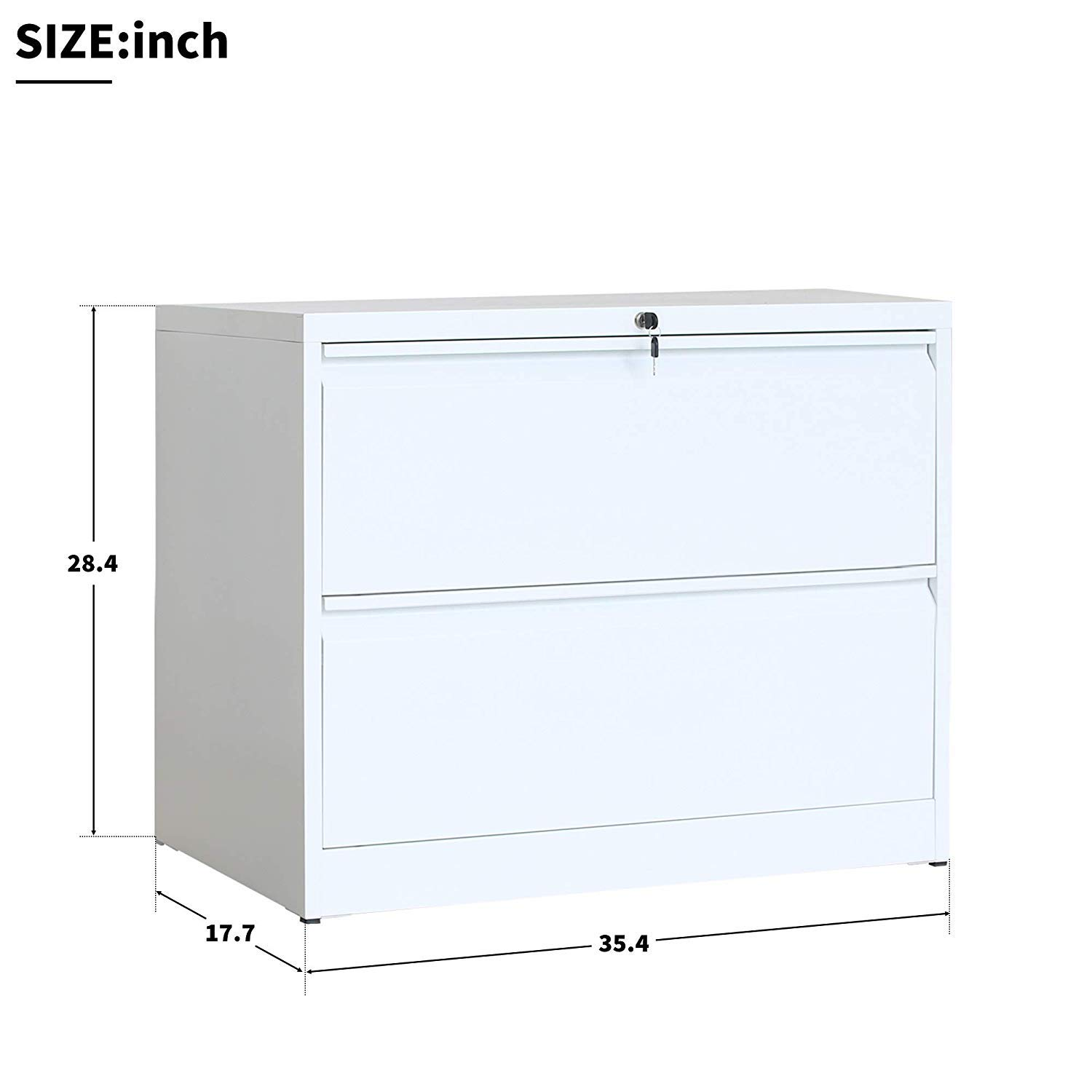 Lateral File Cabinet Lockable Heavy Duty Metal Two Drawer Lateral File Cabinet (White) by buyerfirst