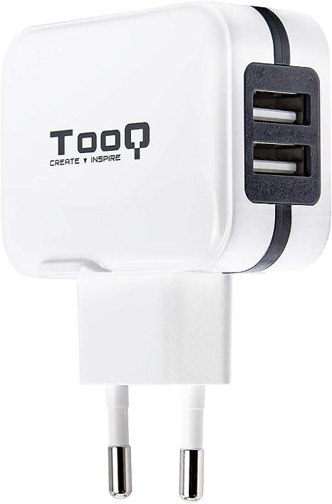 TooQ TQWC-1S02WT - Cargador de pared con 2 x USB (5V - 3.4 A, 17 W), con tecnologia AiPower, para iPad / iPhone / Samsung / Tablets / Smartphones, color BLANCO: Amazon.es: Informática