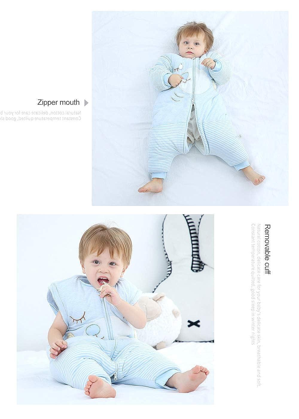 Saco de Dormir de Piernas Divididas para Beb/é Cremallera de Invierno Ropa de Dormir Pijama C/álido con Manga Larga Desmontable 0-6 A/ños