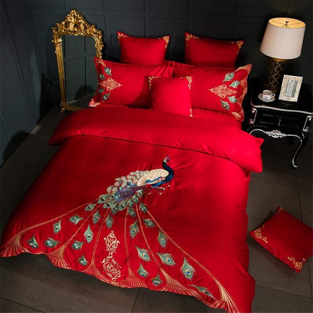 シーツは柔らかくて絹のような設定 Gongfuロングステープルコットン刺繍入り6ピースホームスパンコットンキルトカバー用孔雀寝具シート&枕カバーセット シンプルなデザイン (色 : 赤) B07T6LVPPH 赤