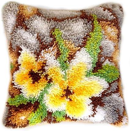 DIY Cushion Carpet Mat Latch Hook Rug Kits Cover Hand Craft Embroidery Pillowcase Crocheting Handmade Wedding Kids Parents Gift 16x16 Inch