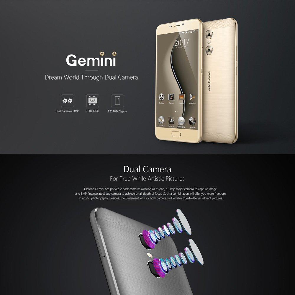 uleFone Gemini スマートフォン simフリー(au不可) MTK6737T 64-bit 1.5GHz クアッドコア 5.5