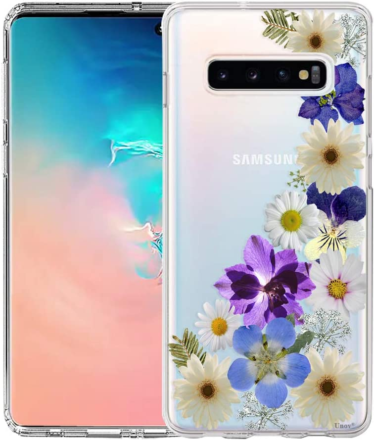 Unov Galaxy S10 Plus Case Clear with Design Soft TPU Shock Absorption Slim Embossed Dried Floral Pattern Protective Back Cover for Galaxy S10 Plus 6.4in (Flower Blossom)