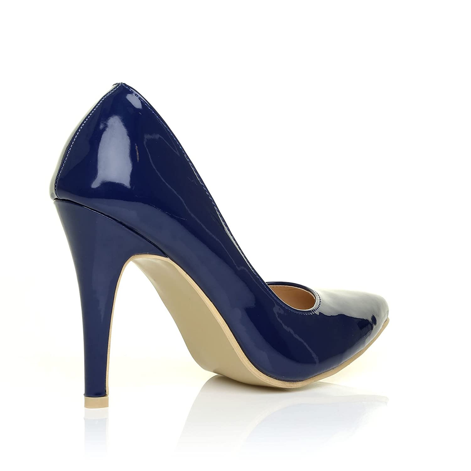 3296f271331 DARCY Navy Patent PU Leather Stilleto High Heel Pointed Court Shoes