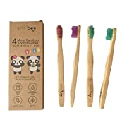 Organic Eco-Friendly Bamboo Toothbrush for Kids 4-Pack Biodegradable Tooth Brush Set (Soft)