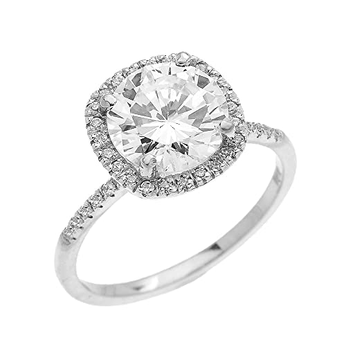 Dainty 14k White Gold Cushion Shape Halo 4 Carat Total Weight CZ Solitaire Engagement and Proposal R...