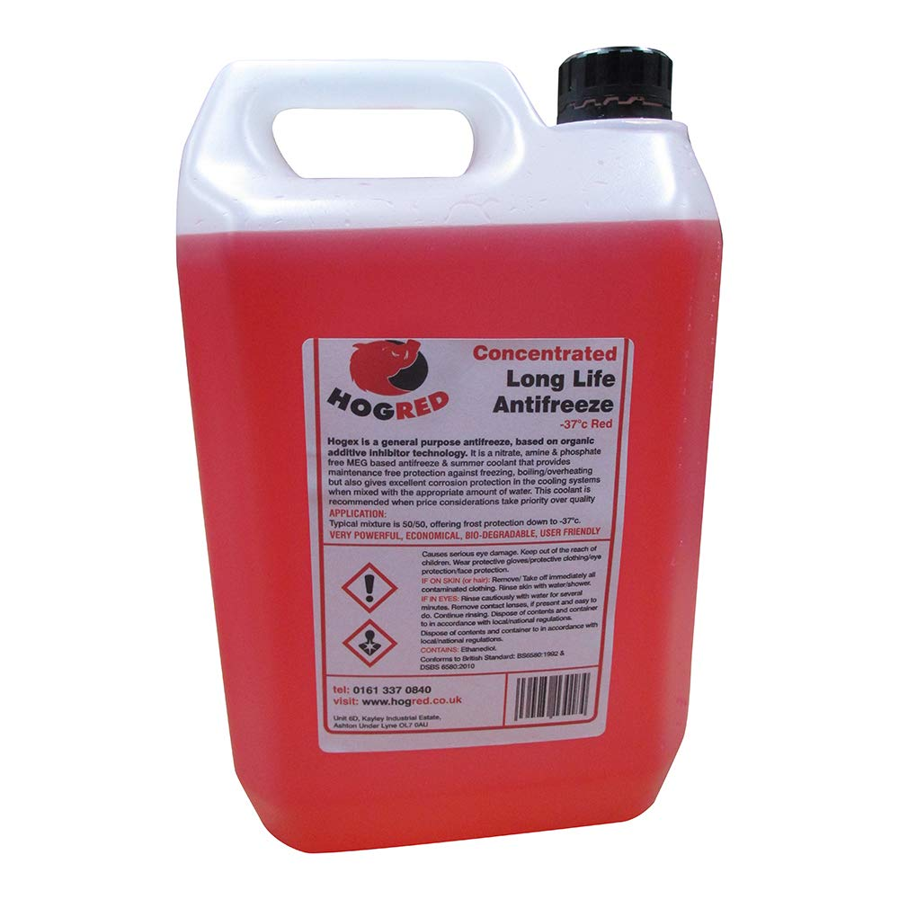 red long life anti freeze concentrate -37 quality manufactured 5 litres hog red