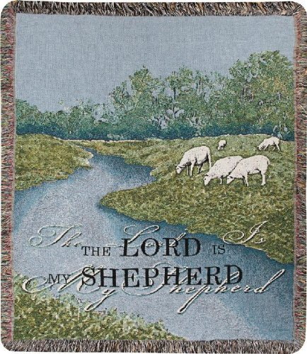 Manual Inspirational Collection 50 x 60-Inch Tapestry Throw with Verse, The Lord is My Shepherd, ()
