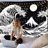 Cestbin Japanese Ocean Wave Tapestry,Kanagawa The Great Wave Tapestry with Moon Tapestries,Large Sun Black and White Tapestry for Living Room Bedroom Dorm (Great Wave, 51.2