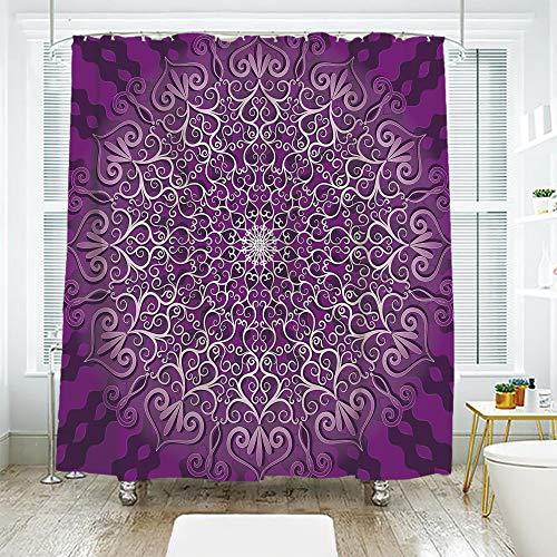 scocici DIY Bathroom Curtain Personality Privacy Convenience,Purple Mandala,Round