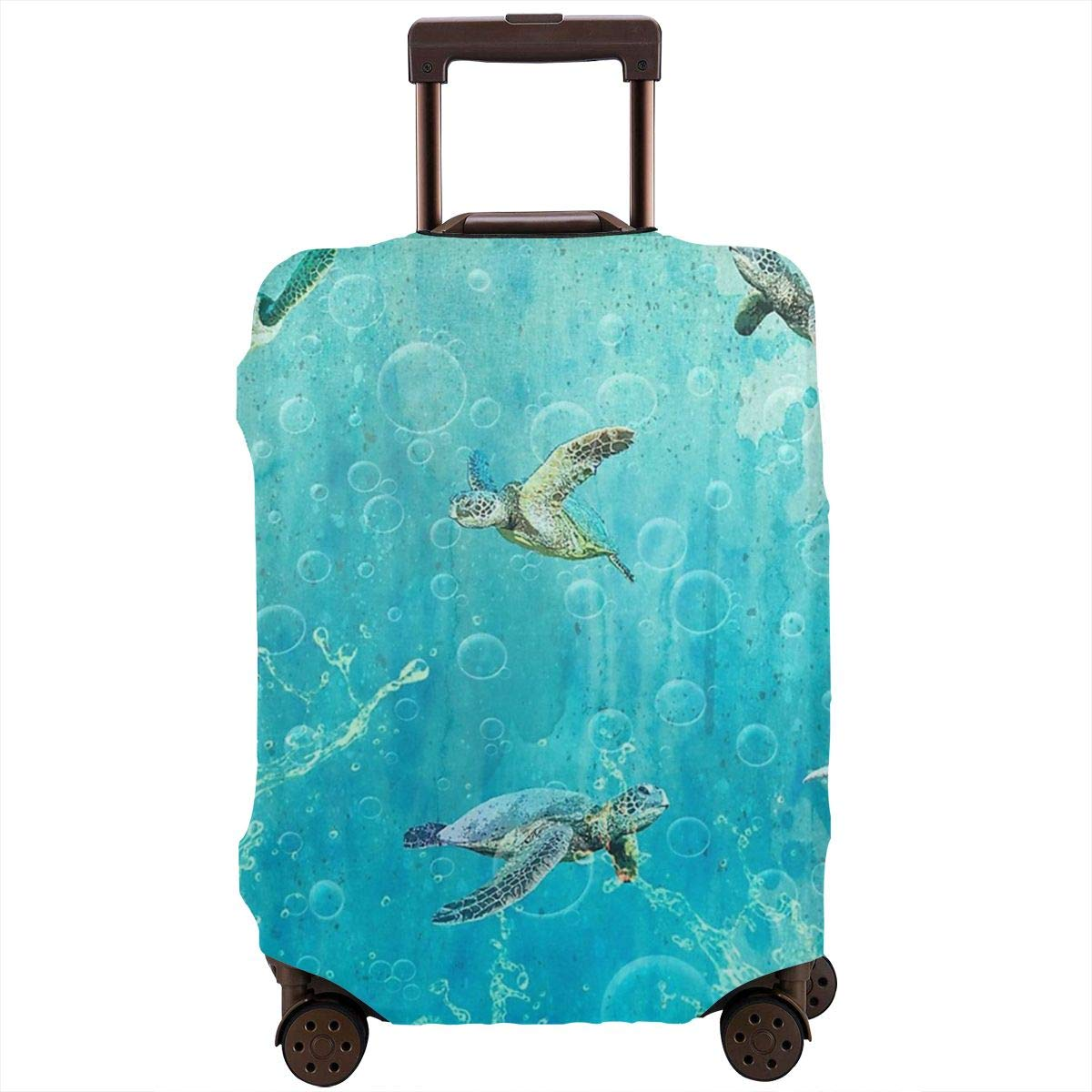 Luggage Cover Swimming Turtles Blowing Bubbles Protective Travel Trunk Case Elastic Luggage Suitcase Protector Cover