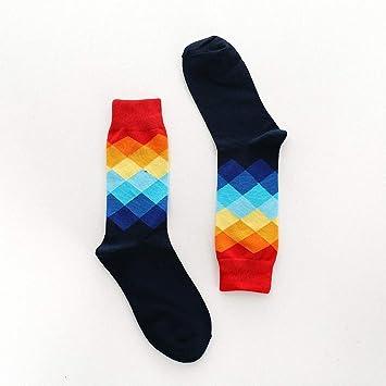 Elanpu Hombre Calcetines Creativos Color Geométrico Rombo Personalizado Gradiente Color Algodón Neutro: Amazon.es: Deportes y aire libre