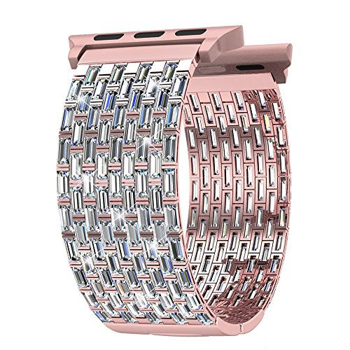 FresherAcc Apple Watch Band, Luxury Zircon Stones Replacement Strap for iWatch All Series Crystal Rhinestone Diamond Watch Bracelet Wristband Stainless Steel Band (38MM Rose Gold)