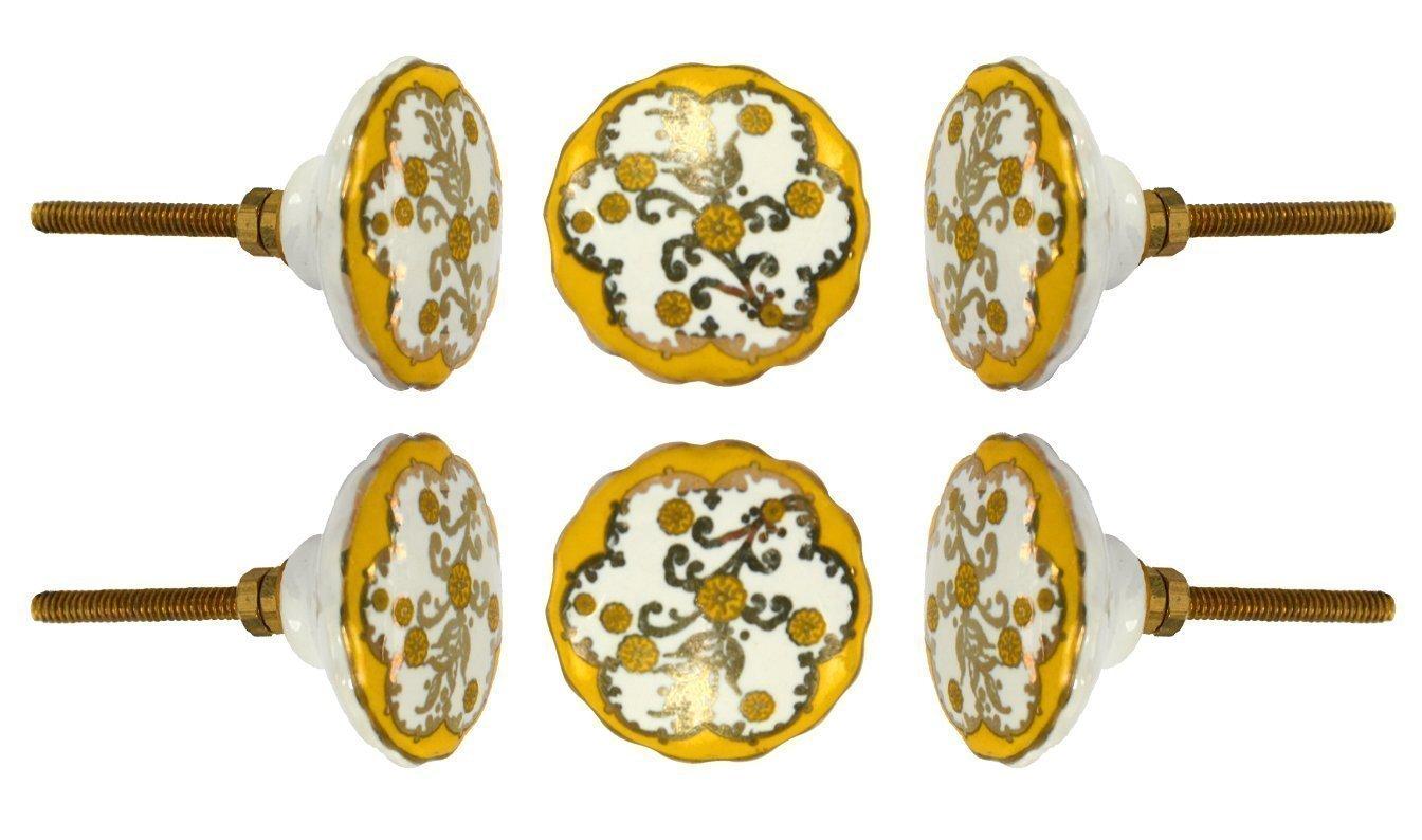 Set of 6 Ceramic Denton Cabinet Drawer Knobs Kitchen Cupboard Door Knob Dressser Wardrobe Pull by Trinca-Ferro